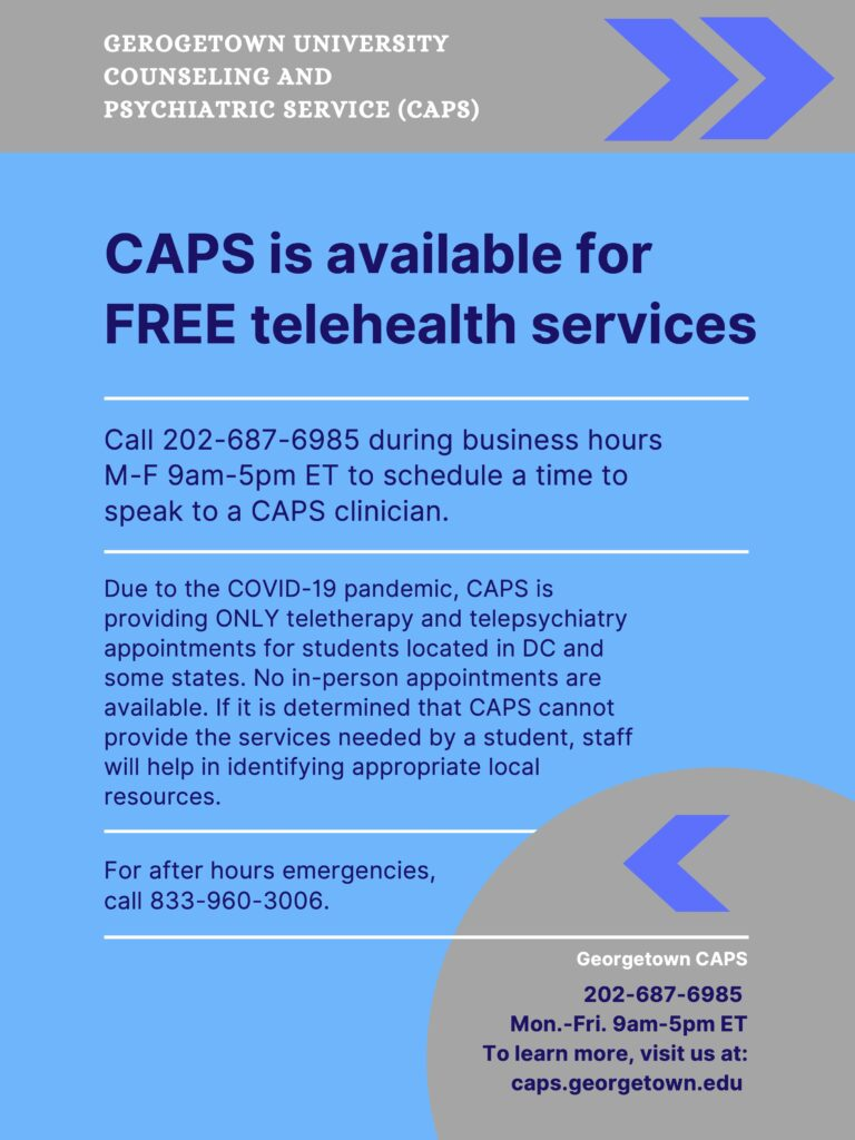 A flyer for the tele-health services provided by Georgetown University Counseling and Psychiatric Services