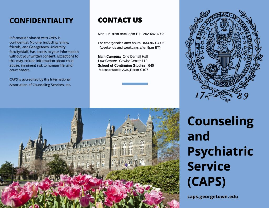 A flyer for Georgetown University Counseling and Psychiatric Service