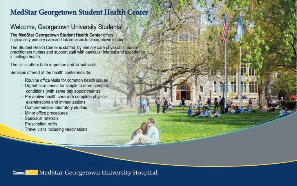 A flyer for the MedStar Georgetown Student Health Center