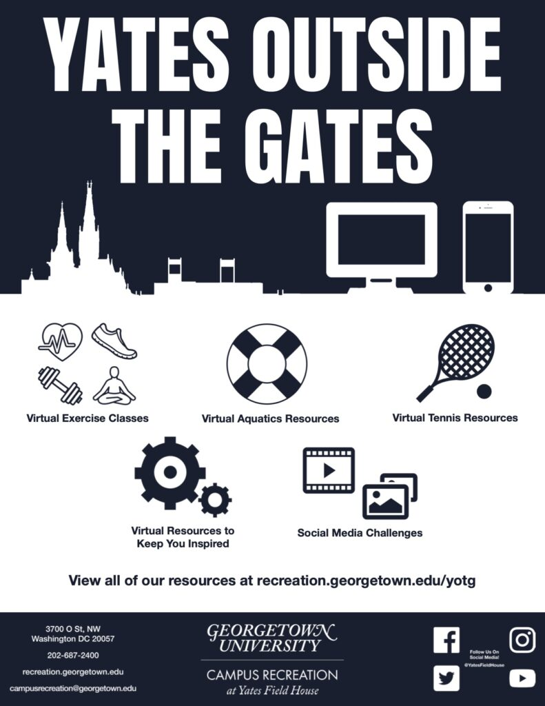 A flyer displaying the virtual resources provided by the Yates Field House