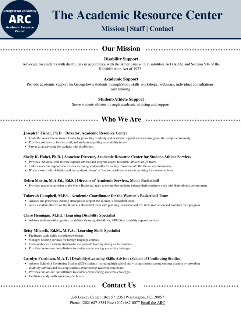 A flyer for the Academic Resource Center at Georgetown University