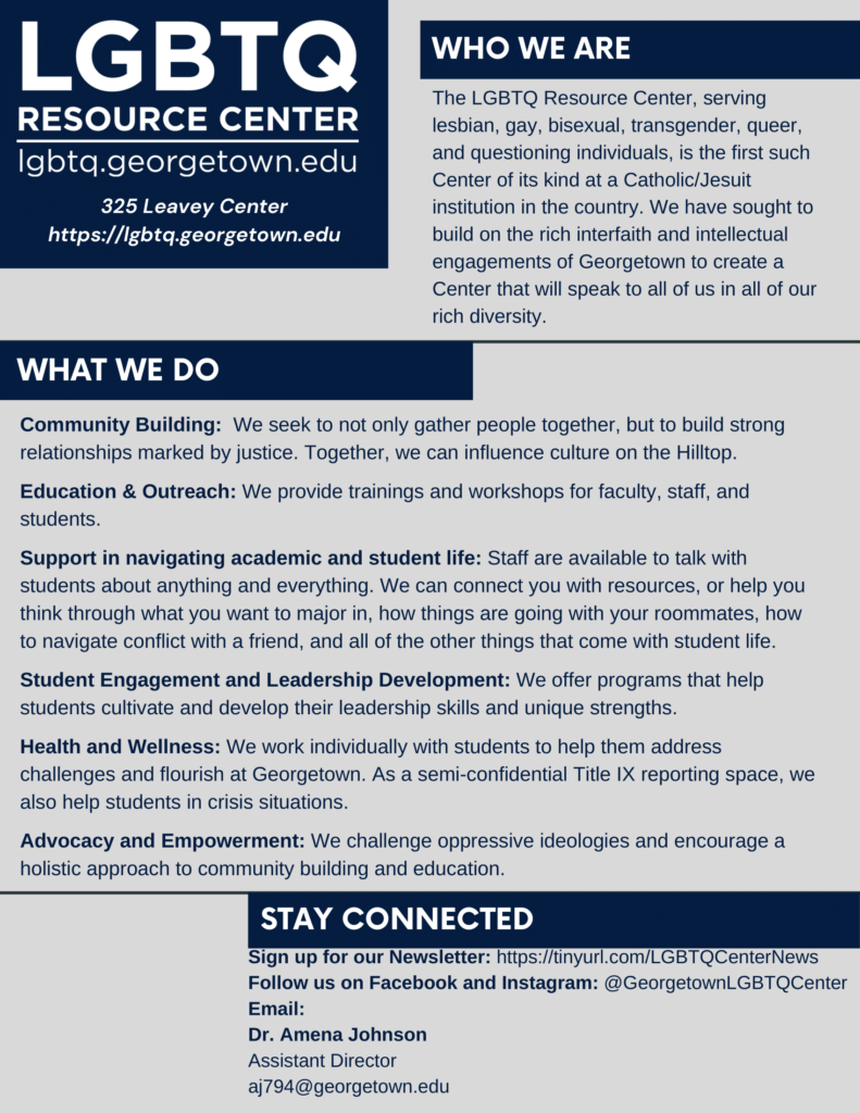 A flyer for the LGBTQ Resource Center at Georgetown University