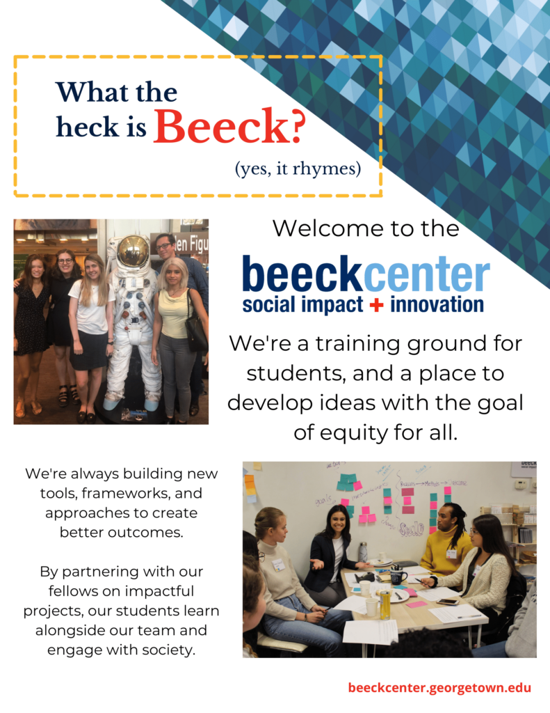 A flyer for the Beeck Center at Georgetown University.
