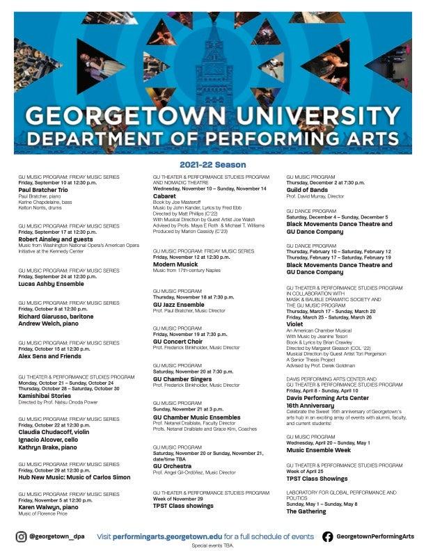 GU Department of Performing Arts information